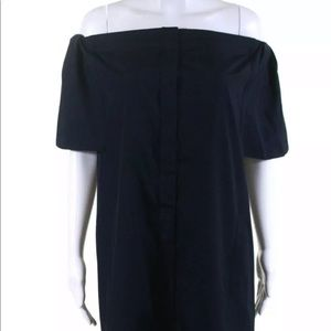 Vince Off The Shoulder Button Down Shirtdress Navy